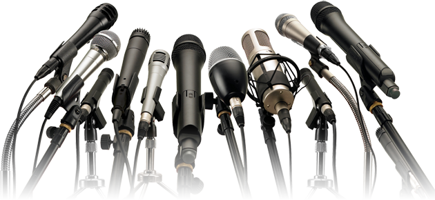 Image depicting microphones in front of Dori while speaking