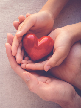 Profit image depicting hands holding a unique red heart representing sharing gifts of wealth